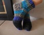 Slipper Socks, hand knitted, Size M