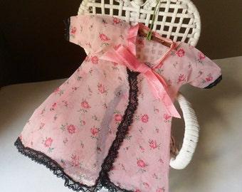 Handmade Doll Robe, Pink Chiffon Robe with Black Heart Lace