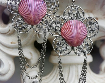 SEASHELLS and FLOWERS chandelier filigree flower and seashell earrings with draping chains, ready to ship