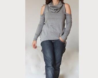 Cut Out Shoulders Turtleneck Top / Open Shoulders Asymmetric Winter Sweater Long Sleeves
