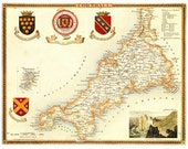 Cornwall 1840. Antique map of the county of Cornwall, England by Thomas Moule - MAP PRINT
