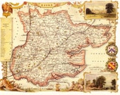 Essex 1840. Antique map of the County of Essex, England by Thomas Moule - MAP PRINT