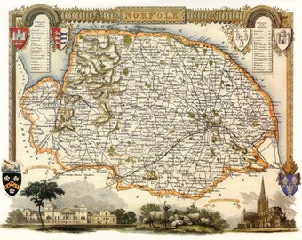 Norfolk 1840. Antique map of the County of Norfolk,  England  by Thomas Moule - MAP PRINT