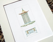 Garden Pagoda Screened Gazebo with Chinoiserie Garden Fence Edging Architectural Drawing Archival Print