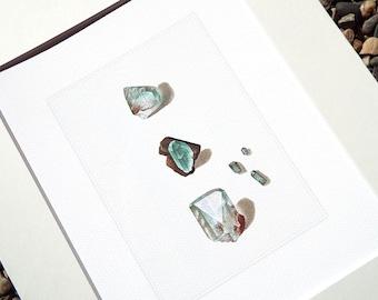 Aquamarine Mineral & Crystal Specimen Study in Soft Blues Archival Print