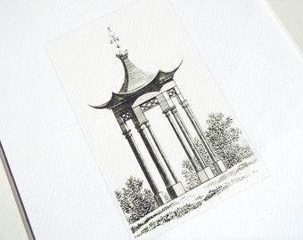 Sepia Pagoda Style Garden Pavillion Antique Illustration Archival Print