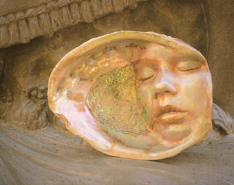 Reserved for Maria, May Payment 2 of 3, Sleeping Pearl, Secret Abalone Shell, Sea Spirit, Mother of Pearl Sculpture by Debra Bernier