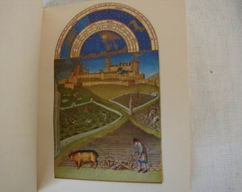 Les Tres Riches Heures,c.1950.French book with 12 tipped in,illuminated color plates after the 5th.century,medieval book of hours