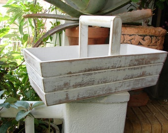 simple, lightweight, vintage wooden gardening trug, shabby off-white, French painted pots,tools,seeds holder