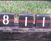 Fire Badge Number Blocks, Police Wife, Fire Wife, Thin Blue Line, Thin Red Line, Wooden Blocks, Firefighter, Police Officer Gifts