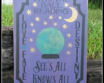 Fortune Teller, Black Cats, Halloween,  Crystal Ball, Primitive Signs, Distressed Signs
