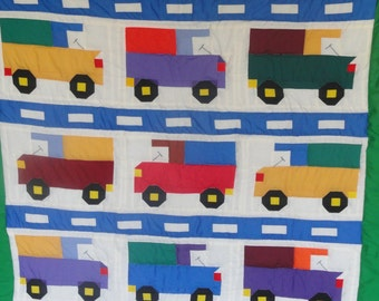 Patchwork Quilt in Primary Colors.  Trucks, Trucks, Trucks.  Ready to Ship.  Toddler Quilt.  Little Boys Love Trucks!