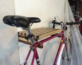 Banded dovetail bike rack in myrtle and walnut. U.S. Shipping included.