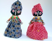 Pair of Hand Fashioned Ndebele Dolls from South Africa