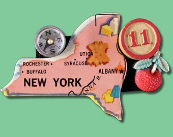 Vintage New York Collage Brooch