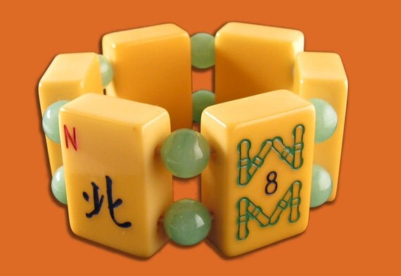 Mahjong Tile Bracelet with Beads