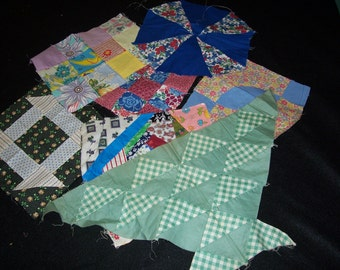 Set of 7..Vintage Quilt Blocks..Quilted Patchworks Pieces...Handmade Quilt Squares...Quilt Pieces...Pillow top Quilt Pieces..