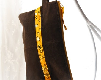 Brown Leather Wristlet, Western Wristlet, Suede Leather Pouch, Upcycled Leather Clutch with Strap, Upcycled Recycled Repurposed Bag Again