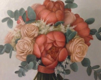 Custom Bridal Bouquet Painting Commission