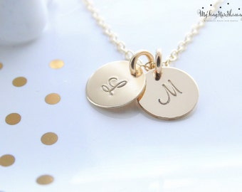 Gold Initial Necklace Personalized Jewelry Gold Initial charm Gold Initial Disc Necklace gold initial necklace