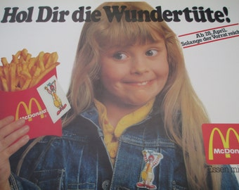 Rare Set of McDonald's vintage adorable advertisement poster for fries and ice cream collectible