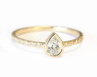 Pear shaped diamond engagement ring bezel setting , simple and elegant, 14K Rose gold