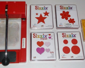 Used Sizzix Cutter and Sizzix Dies Art Craft Supplies Stars Flowers Hearts Circles Baseball