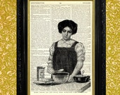 Woman Baking Pie Dictionary Page Art Print, Recycled and Upcycled Vintage Book Page Art, Kitchen Decor, Home Decor, Baking Print