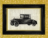 Vintage Car illustration Dictionary Art Print, Recycled Upcycled Vintage Book Page Art, Home Decor, Gifts for Him, Man Cave Art Print