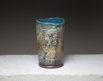 abstract expressive ceramic tumbler tall cup