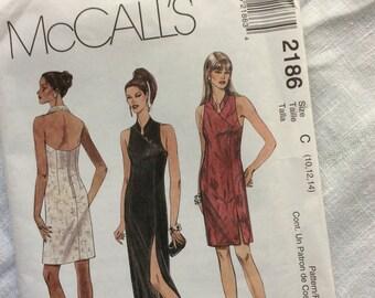 McCall's 2186 misses dress mandarin collar slit skirt size 10 12 14