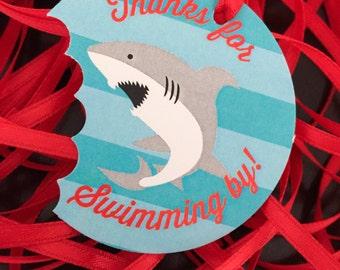 Shark Favor Tags, Shark Bite Birthday Favors, Shark Bite Birthday, Birthday Favor Tags