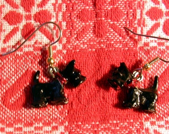 Hand Painted Scotty Dog Earrings/  Hypoallergenic Wires and Posts