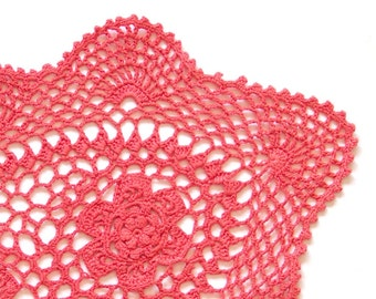 Red Coral hand dyed Crochet oval Doily Vintage lacy doily