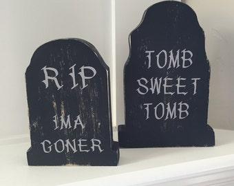 """Halloween tombstones....Set of 2.....Wooden tombstones.....Halloween decor...Tabletop tombstones....9""""x6"""