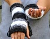 Knit Fingerless gloves Black, White, Grey,  Long knit gloves, Boho knit glove mittens, Girl's wool fingerless gloves,