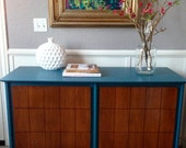 Teal and Wood Mid Century Dresser