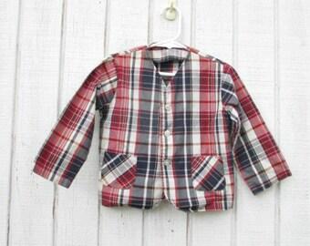 70's Baby Blazer Plaid Jacket Toddler Blue and Red 3 Blazer Jacket Vintage Children's Clothes