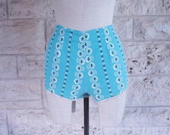 60s Bikini Bottom Vintage Bathing Suit Trunks High Waisted Blue Small Bikini Bottoms