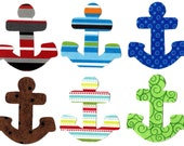 6 Iron on anchor miniature appliques DIY great for baby showers