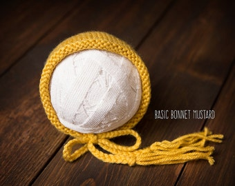 Newborn bonnet mustard yellow ready to ship Photography Prop RTS