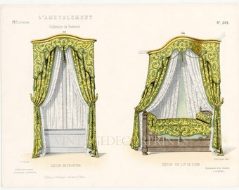 Interior Design Print of a Bed Chamber and Drapes. Guilmard Paris c1866. Original Antique Hand colored Lithograph. Decorative Bedroom Art