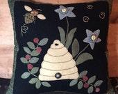 Bee Skep Wool Applique Pillow FAAP