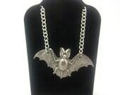 Goth Necklace, Bat Necklace, Silver Necklace, Lolita Necklace, Animal Necklace, Horror Necklace, Rockabilly Necklace, Vampire Necklace