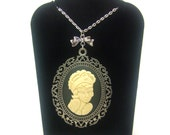 Steampunk Tatoo Lady Necklace, Cameo Necklace, Rockabilly Necklace, Silver Necklace, Goth Necklace