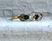 Lovely Unique Vintage 9K Yellow Gold Sapphire and Diamond Wedding Band.