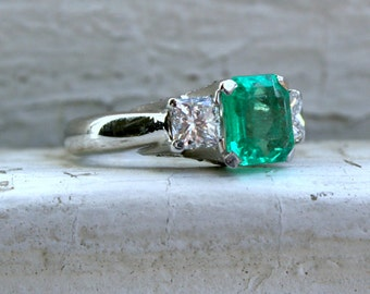 RESERVED - Gorgeous Vintage Platinum Diamond and Emerald Engagement Ring - 3.61ct.