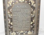 Vintage Mother Motto Picture and Frame, Gift For Mother, Framed Art Print