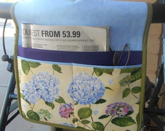 Walker Tote, Walker Caddy, Walker Bag, Blue Floral, Gift for Grandma or Mother