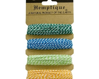 CLEARANCE SALE Tutti Frutti  Cotton Bakers Twine Sampler by Hemptique, 4 colors - 120 Feet Total